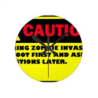 CAUTION ZOMBIE INVASION ROUND CLOCK