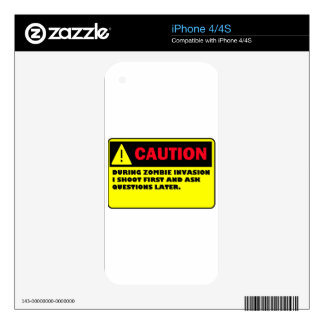 CAUTION ZOMBIE INVASION SKINS FOR THE iPhone 4