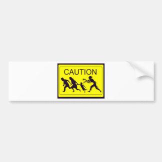 Caution Zombies Car Bumper Sticker