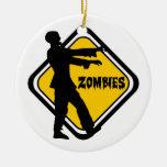 Caution Zombies Ceramic Ornament