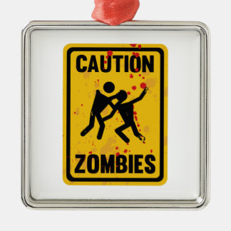 Caution Zombies Metal Ornament