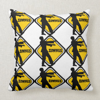 Caution Zombies Throw Pillow