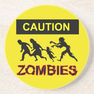 Caution Zombies Sandstone Drink Coaster