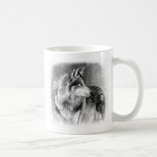 Cautious Eyes wolf mug