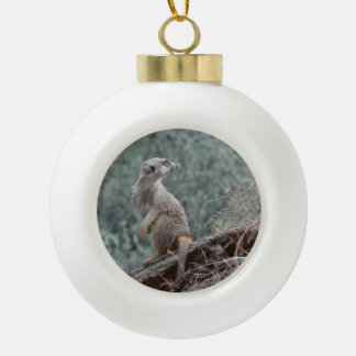 Cautious Meerkat Ceramic Ball Christmas Ornament