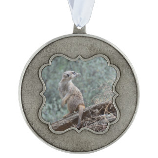 Cautious Meerkat Scalloped Pewter Christmas Ornament
