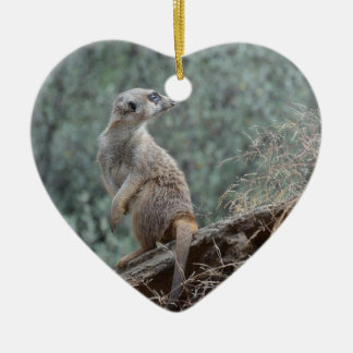 Cautious Meerkat Double-Sided Heart Ceramic Christmas Ornament