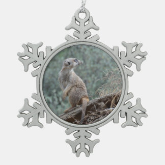 Cautious Meerkat Snowflake Pewter Christmas Ornament