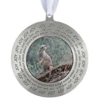 Cautious Meerkat Round Pewter Christmas Ornament