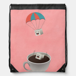 Cautious Sugar Cubes falling in Coffee Drawstring Backpack