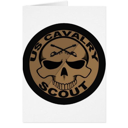 Cav Scout Skull Black and Gold Greeting Card