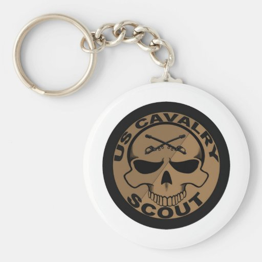 Cav Scout Skull Black and Gold Key Chain