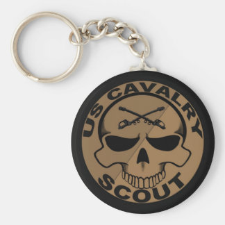 Cav Scout Skull Black and Gold Keychain