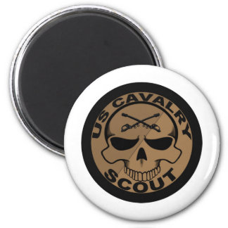 Cav Scout Skull Black and Gold 2 Inch Round Magnet