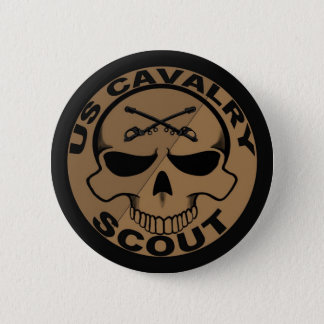 Cav Scout Skull Black and Gold Pinback Button