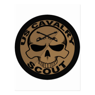 Cav Scout Skull Black and Gold Postcards