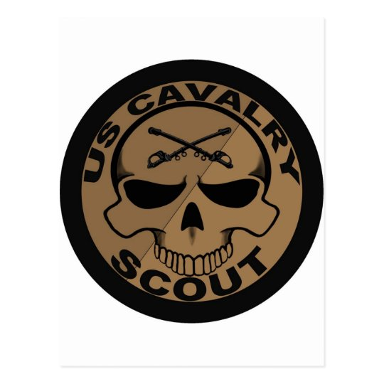Cav Scout Skull Black and Gold Postcard