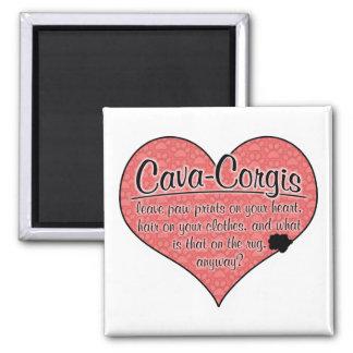 Cava-Corgi Paw Prints Dog Humor 2 Inch Square Magnet