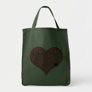 Cava-Corgi Paw Prints Dog Humor Tote Bags