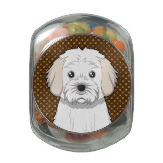 Cavachon Dog Cartoon Paws Glass Candy Jars