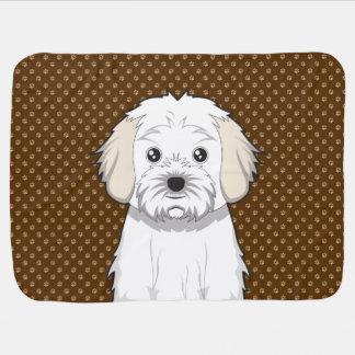 Cavachon Dog Cartoon Paws Stroller Blanket