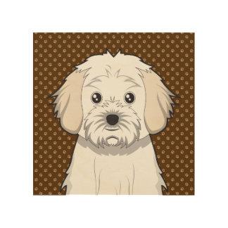 Cavachon Dog Cartoon Paws Wood Print