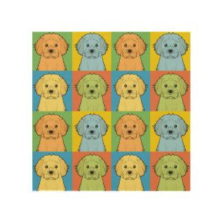 Cavachon Dog Cartoon Pop-Art Wood Print