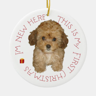Cavachon Puppy First Christmas Ceramic Ornament