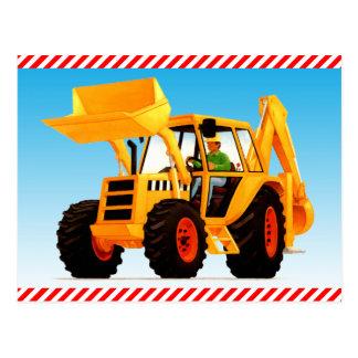 Cavador amarillo de la construcción del niño postales