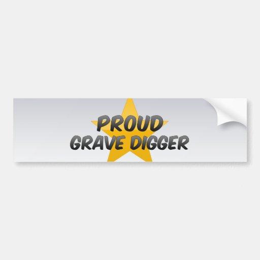Cavador grave orgulloso etiqueta de parachoque