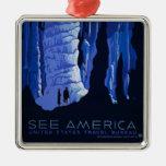 Cavadura del poster del viaje del vintage de la adorno cuadrado plateado