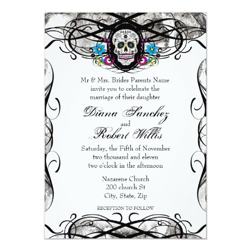 "Cavaleras Muerte Skull and Flourishes Invite 5"" X 7"" Invitation Card"