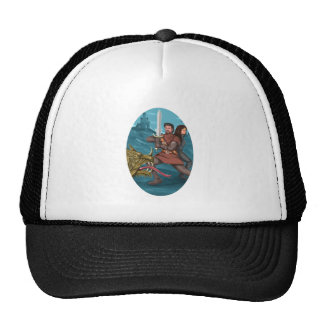Cavalier and Lady Fighting Dragon Oval Watercolor Trucker Hat