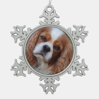 Cavalier Fond Memories Spaniel Snowflake Pewter Christmas Ornament