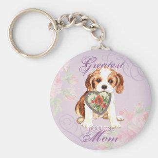 Cavalier Heart Mom Keychain