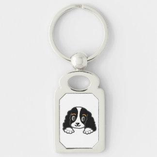 cavalier kcs peeking black and white keychain