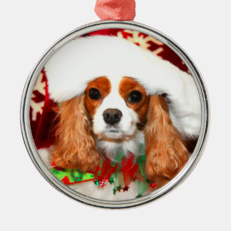 Cavalier King Charles Christmas Santa Magnet Metal Ornament