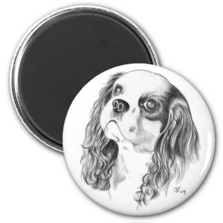 Cavalier King Charles Drawing 2 Inch Round Magnet