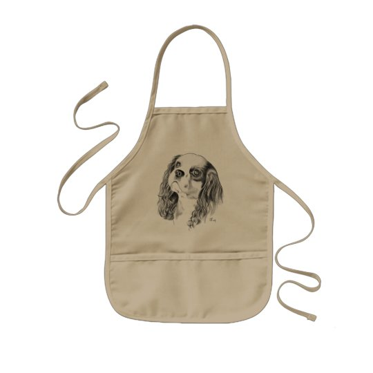 Cavalier King Charles Drawing Kids' Apron