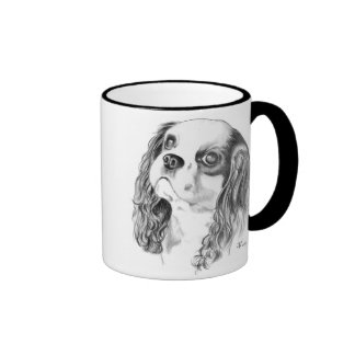 Cavalier King Charles Drawing Ringer Coffee Mug