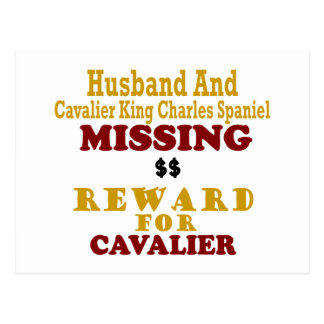 Cavalier King Charles  & Husband Missing Reward Fo Post Cards