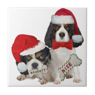 Cavalier King Charles Naughty or Nice gifts Ceramic Tile