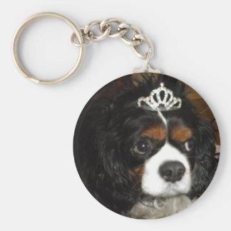 cavalier king charles princess basic round button keychain