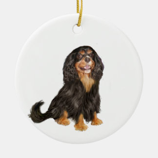 Cavalier King Charles (R) - Black and tan.png Double-Sided Ceramic Round Christmas Ornament