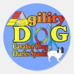 Cavalier_King_Charles_Spaniel_Agility Round Stickers