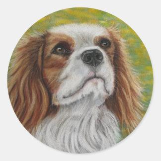 Cavalier King Charles Spaniel Art - Addie - Classic Round Sticker