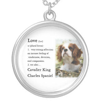 Cavalier King Charles Spaniel Art Love Is Round Pendant Necklace