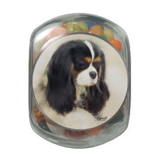 Cavalier King Charles Spaniel Glass Candy Jar