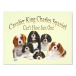 Cavalier King Charles Spaniel Can't Have Just One 4.25x5.5 Paper Invitation Card