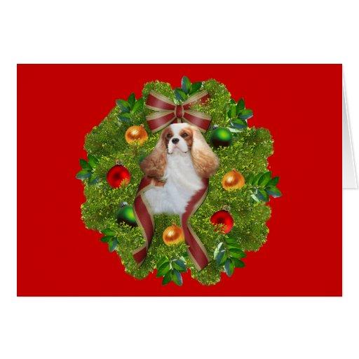Cavalier King Charles Spaniel Christmas CardWreath Card | Zazzle
